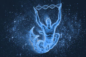 Man holding DNA double helix