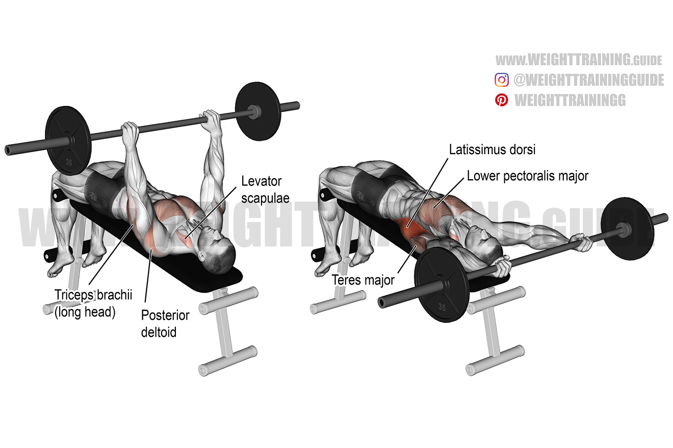 Decline barbell pullover exercise