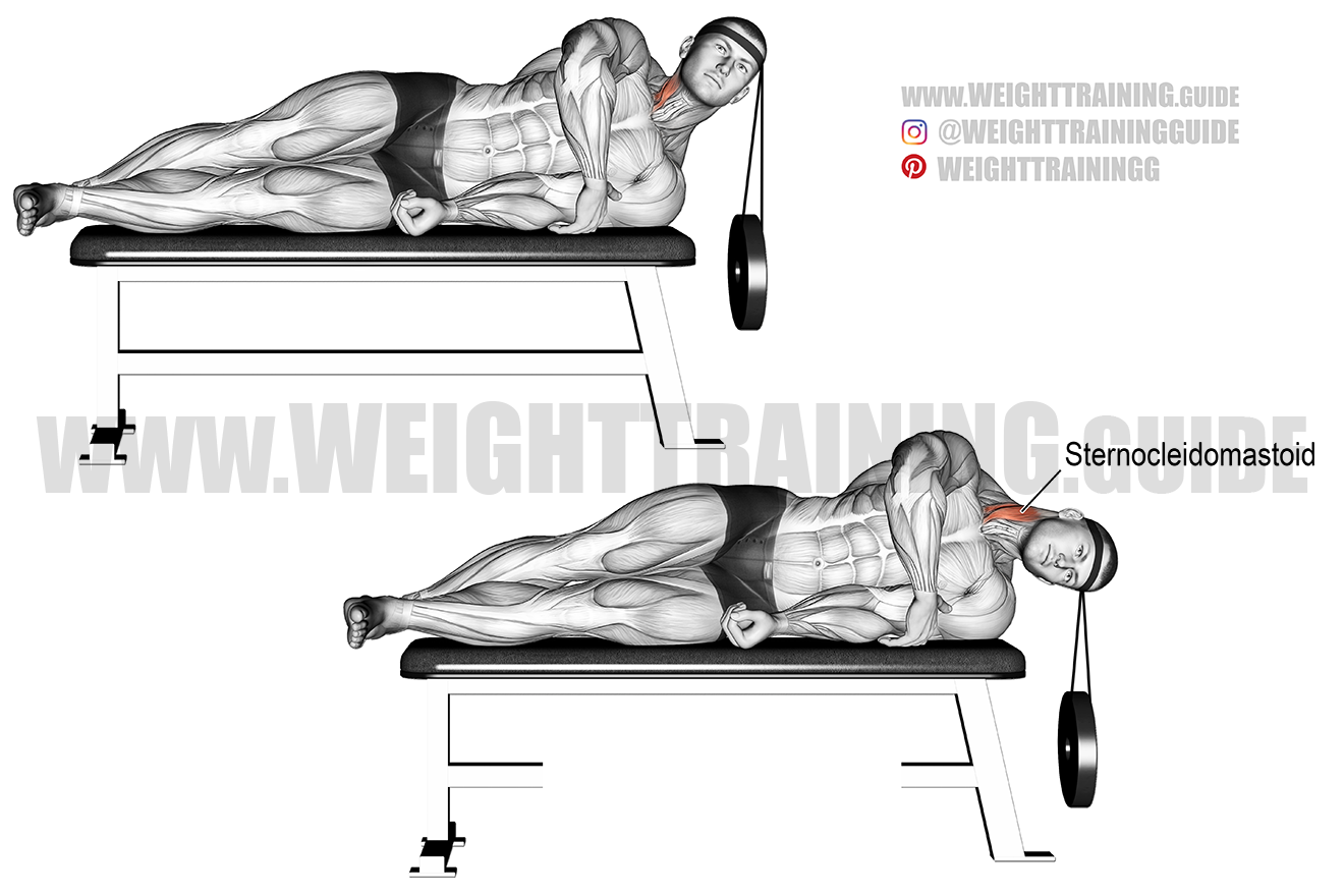 Lying weighted lateral neck flexion exercise