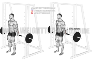 Behind-the-back Smith machine wrist curl exercise