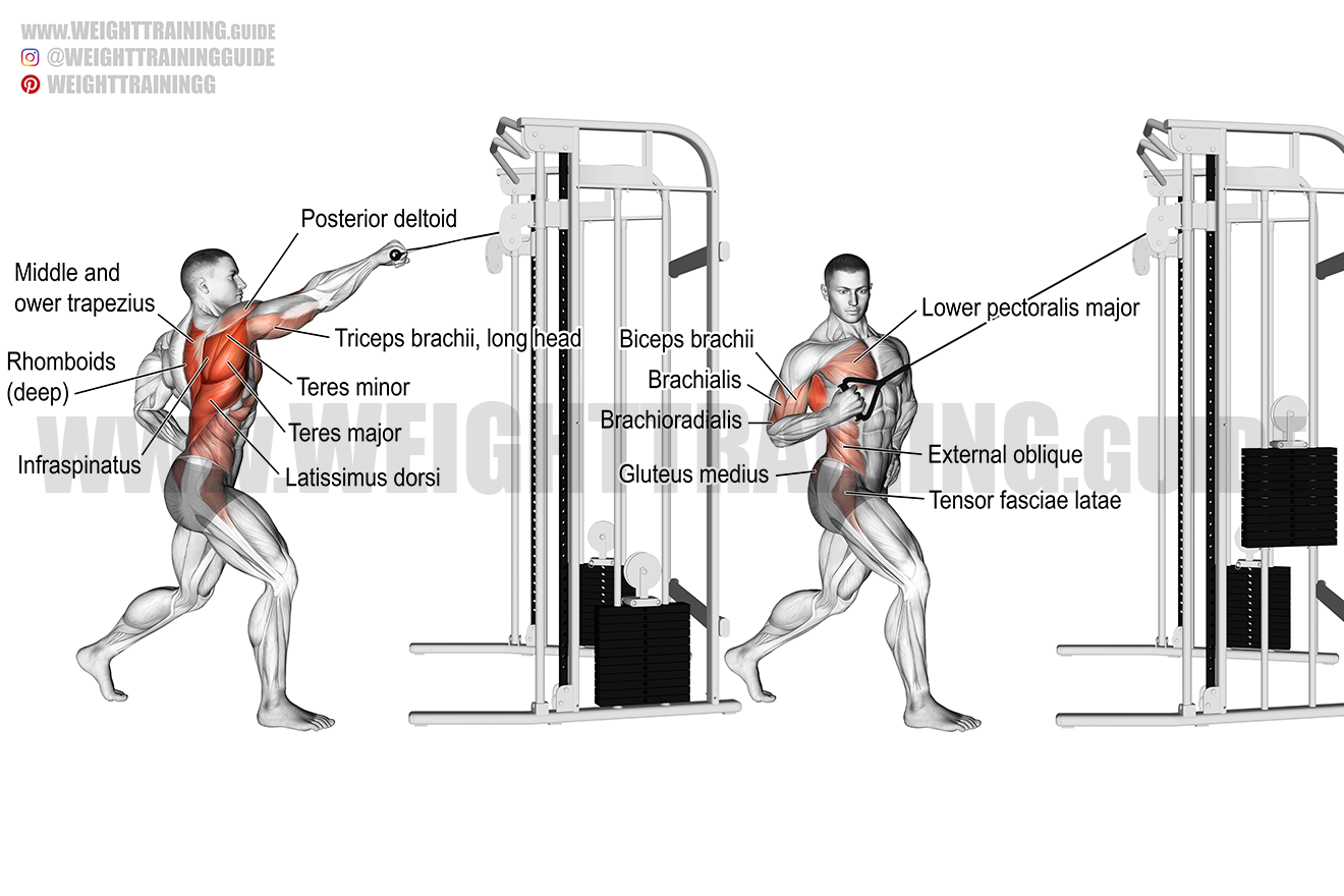 Standing twisting cable high row exercise