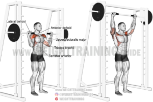 Smith machine standing overhead press exercise