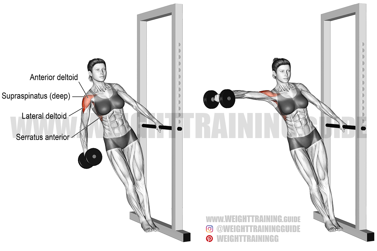 Leaning dumbbell lateral raise exercise