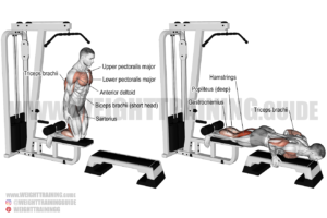 Inverse leg curl on lat pull-down machine exercise