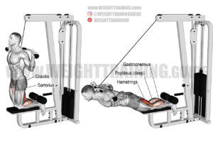 Assisted inverse leg curl with lat pull-down machine exercise