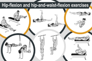 Hip-flexion and hip-and-waist-flexion exercises