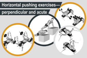 Horizontal pushing exercises - perpendicular and acute