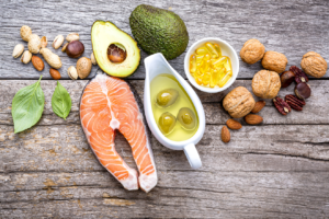 Sources of dietary fat on a table