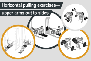 Horizontal pulling exercises - upper arms out to sides