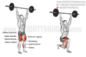 Barbell overhead lunge exercise