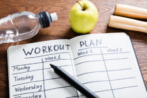 Note pad with workout plan