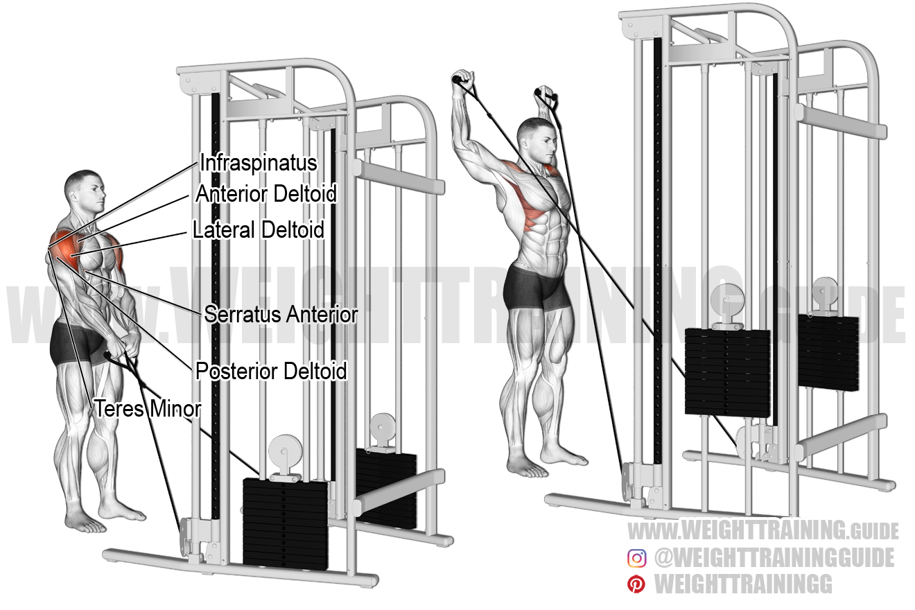 Cable Y-raise exercise