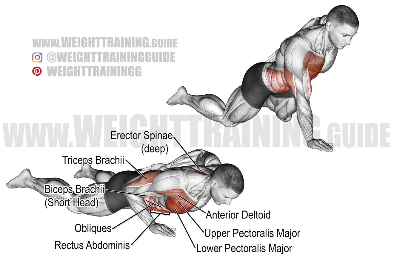 One-arm knee push-up exercise